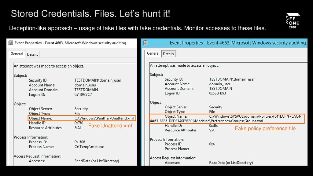 Stored Credentials. Files. Let's hunt it! Decep...