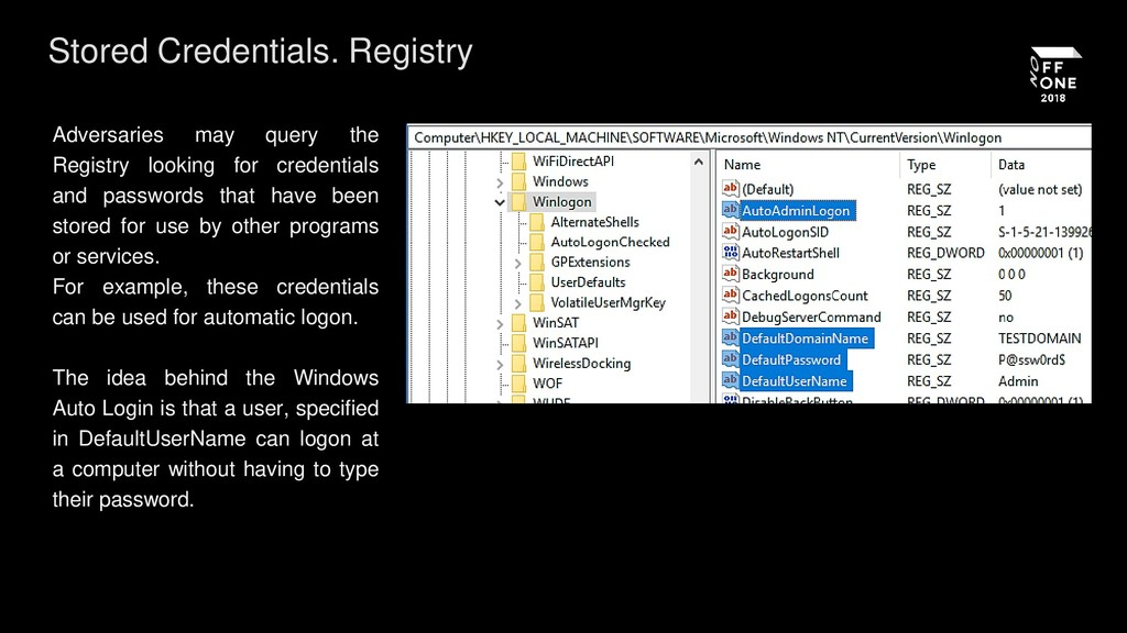 Stored Credentials. Registry Adversaries may qu...