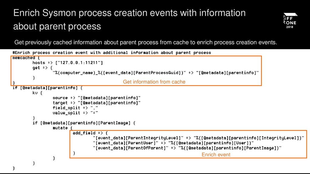 Enrich Sysmon process creation events with info...