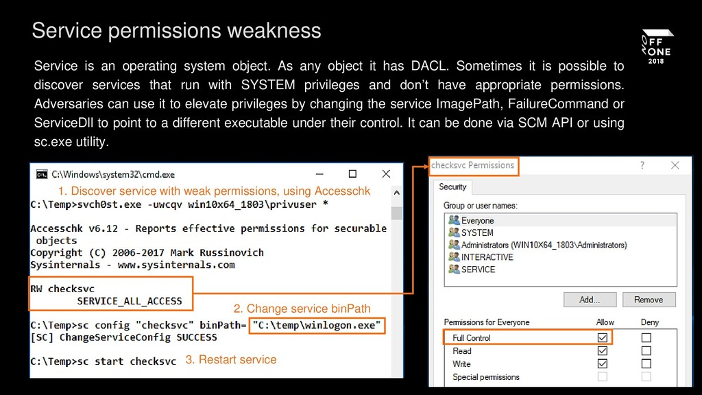 Service permissions weakness Service is an oper...