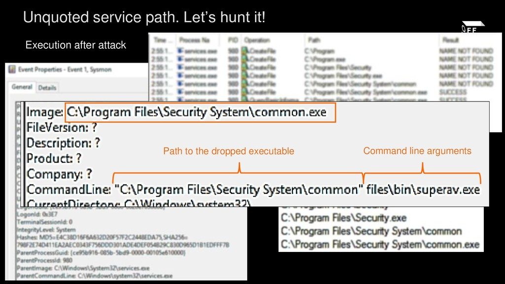 Execution after attack Unquoted service path. L...