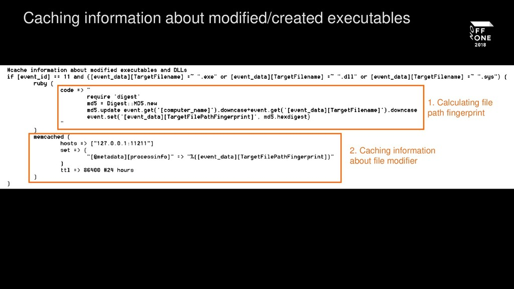 Caching information about modified/created exec...