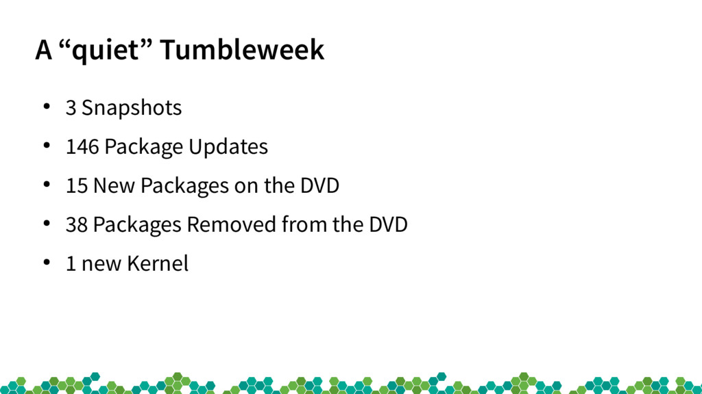 """A """"quiet"""" Tumbleweek ● 3 Snapshots ● 146 Packag..."""