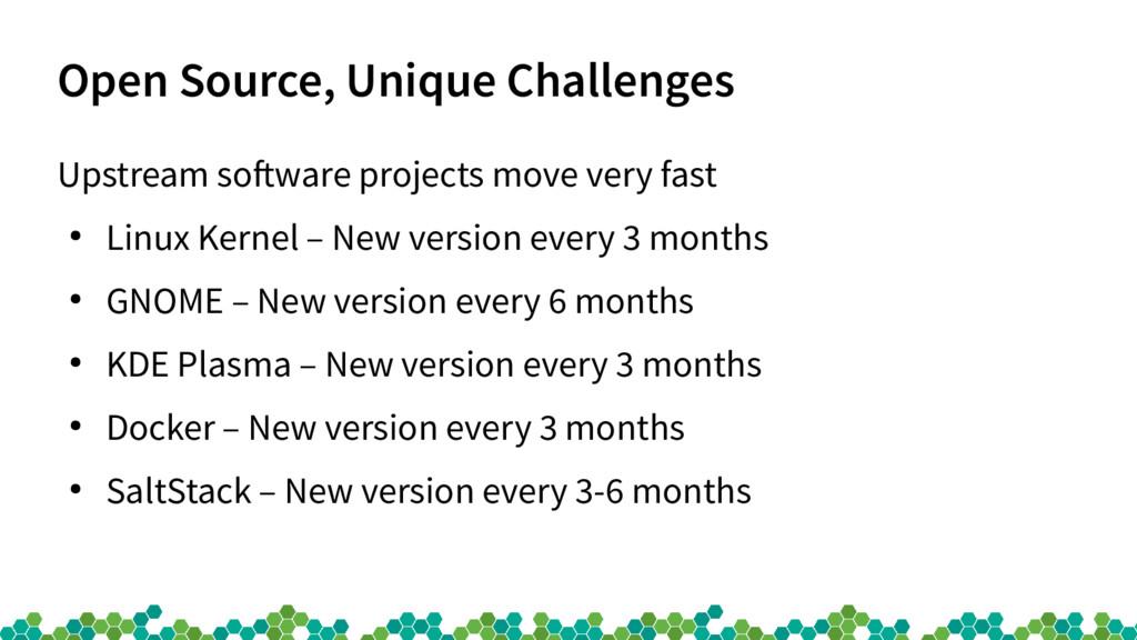 Open Source, Unique Challenges Upstream sofware...