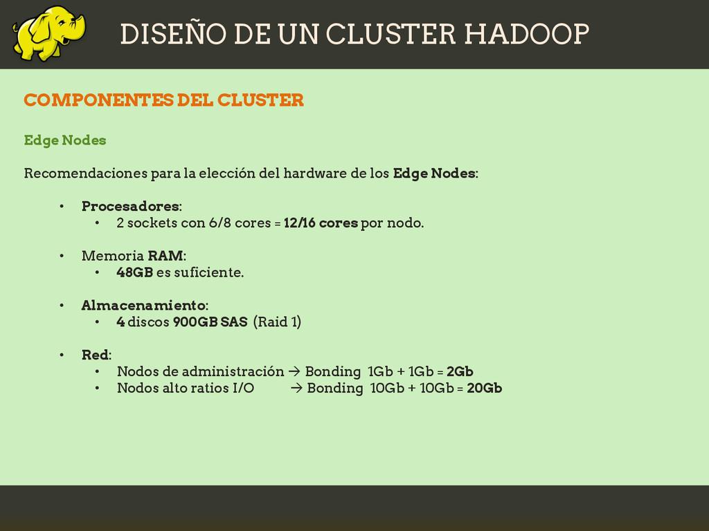 DISEÑO DE UN CLUSTER HADOOP COMPONENTES DEL CLU...