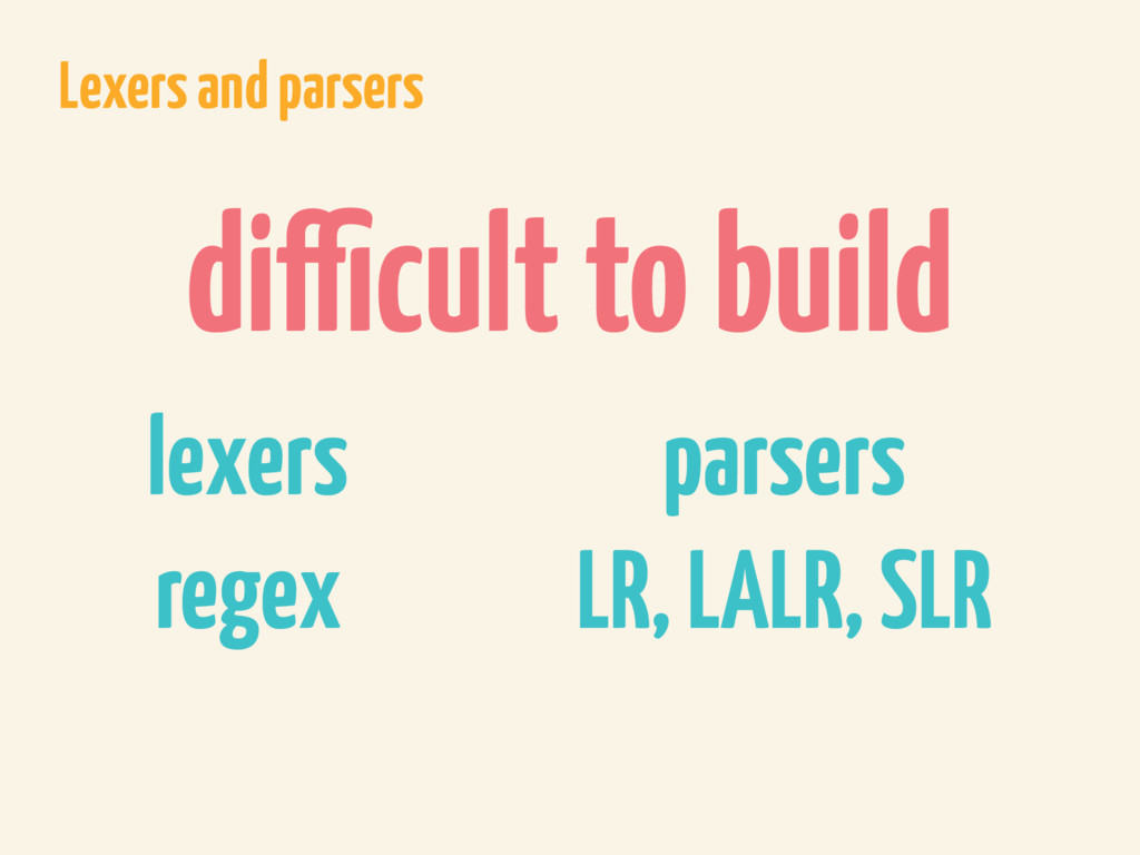 Lexers and parsers difficult to build lexers re...