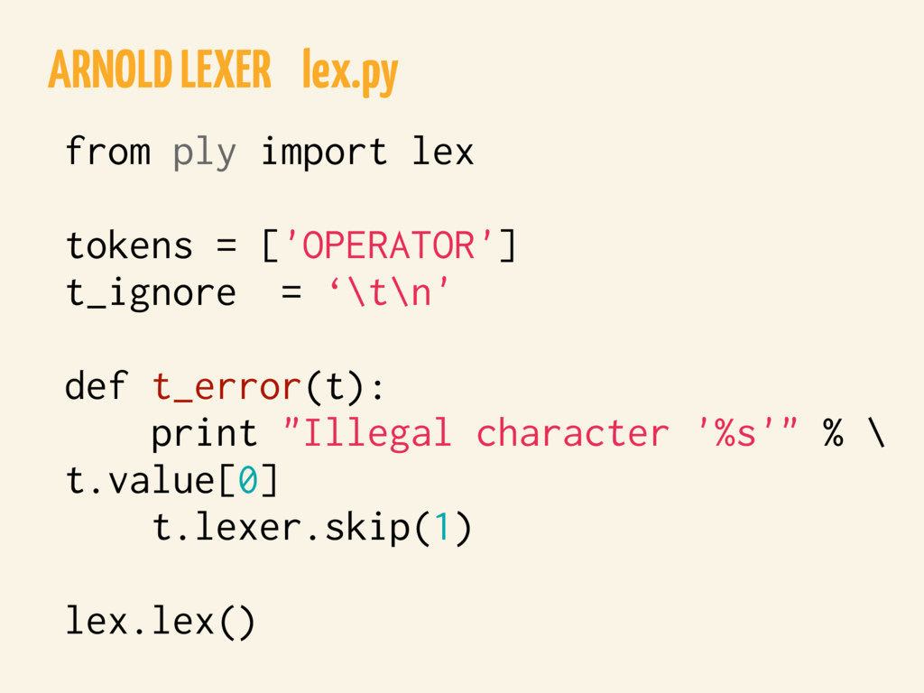 ARNOLD LEXER lex.py from ply import lex tokens ...
