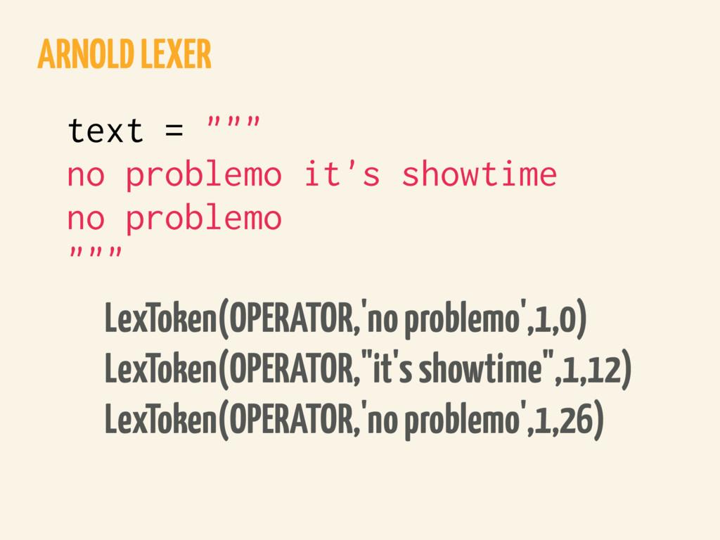 ARNOLD LEXER LexToken(OPERATOR,'no problemo',1,...