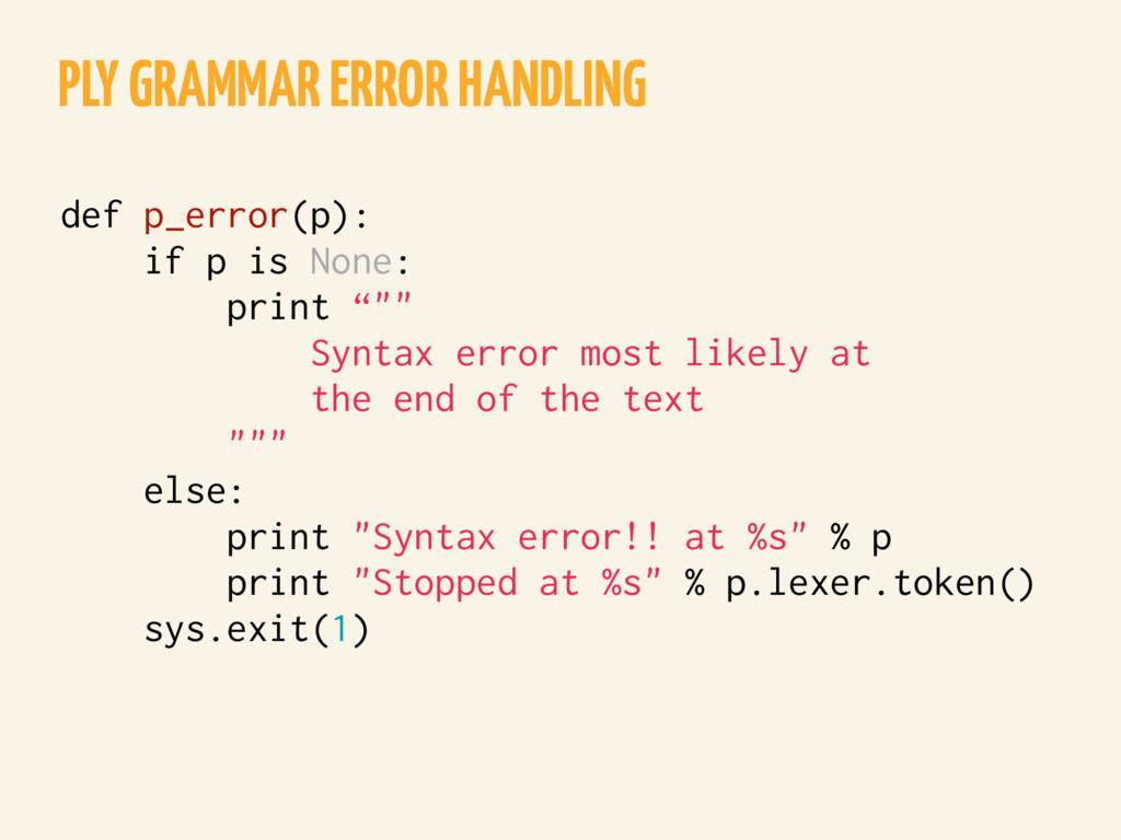 PLY GRAMMAR ERROR HANDLING def p_error(p): if p...