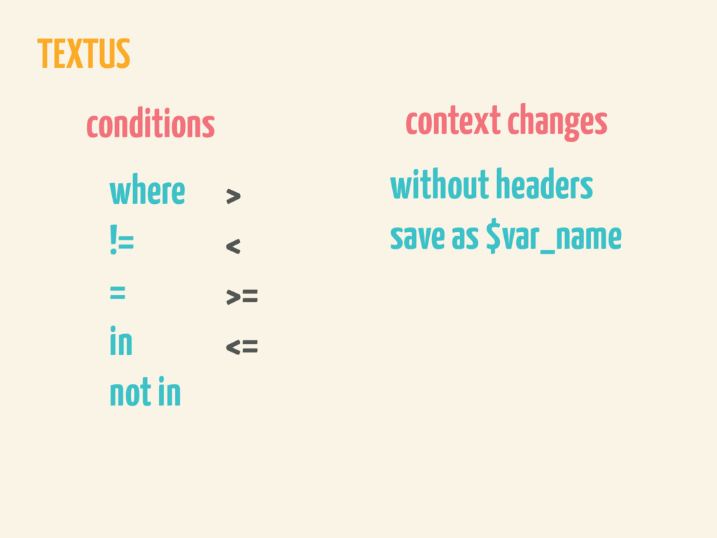 TEXTUS conditions where != = in not in > < >= <...