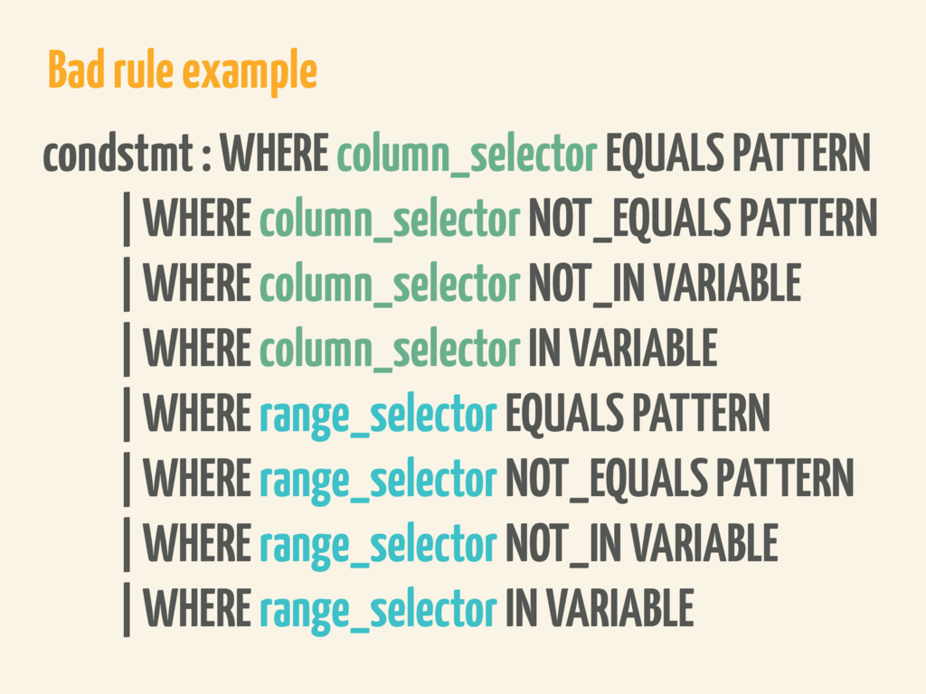 Bad rule example condstmt : WHERE column_select...