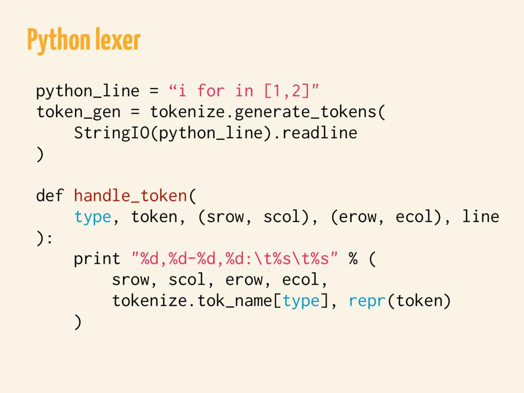 "Python lexer python_line = ""i for in [1,2]"" tok..."