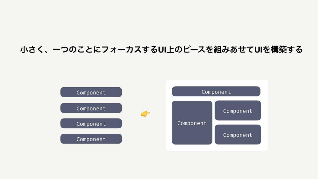 খ͘͞ɺҰͭͷ͜ͱʹϑΥʔΧε͢ΔUI্ͷϐʔεΛΈ͋ͤͯUIΛߏங͢Δ Component...
