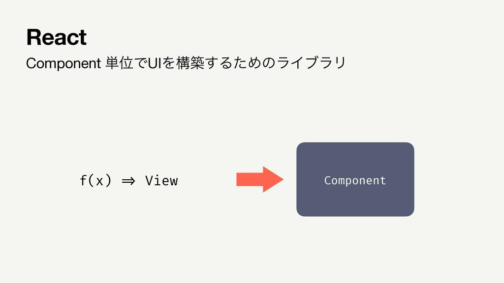 Component ୯ҐͰUIΛߏங͢ΔͨΊͷϥΠϒϥϦ React Component f(...