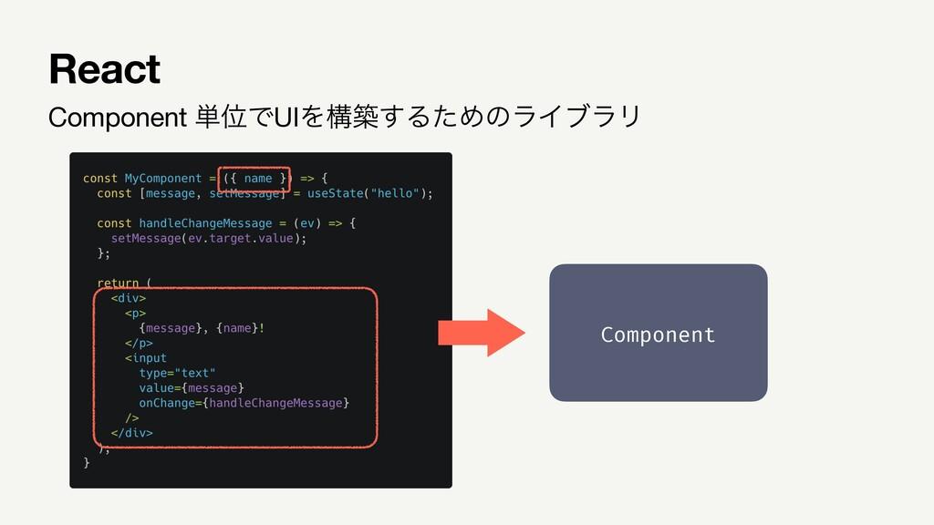 Component ୯ҐͰUIΛߏங͢ΔͨΊͷϥΠϒϥϦ React Component