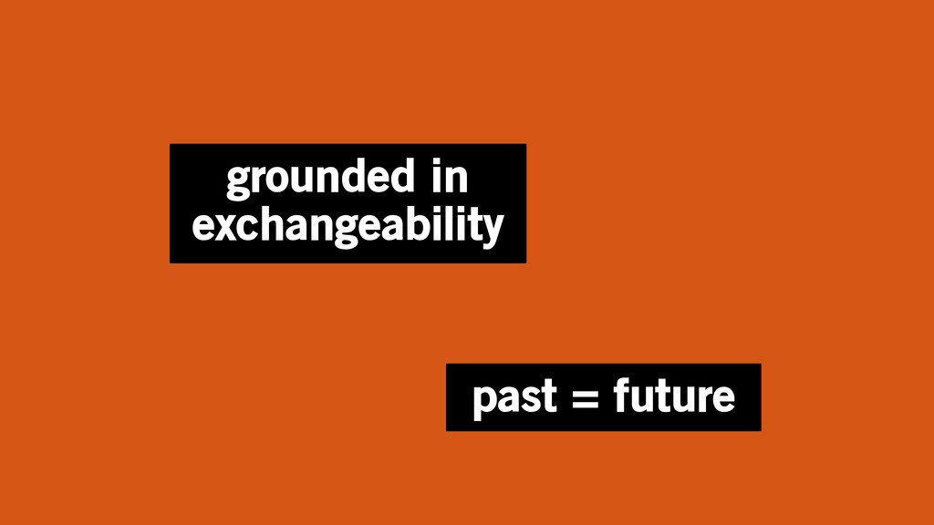 grounded in exchangeability past = future