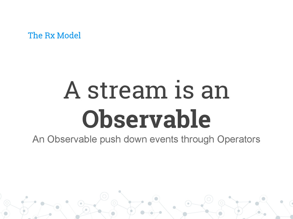 The Rx Model A stream is an Observable An Obser...