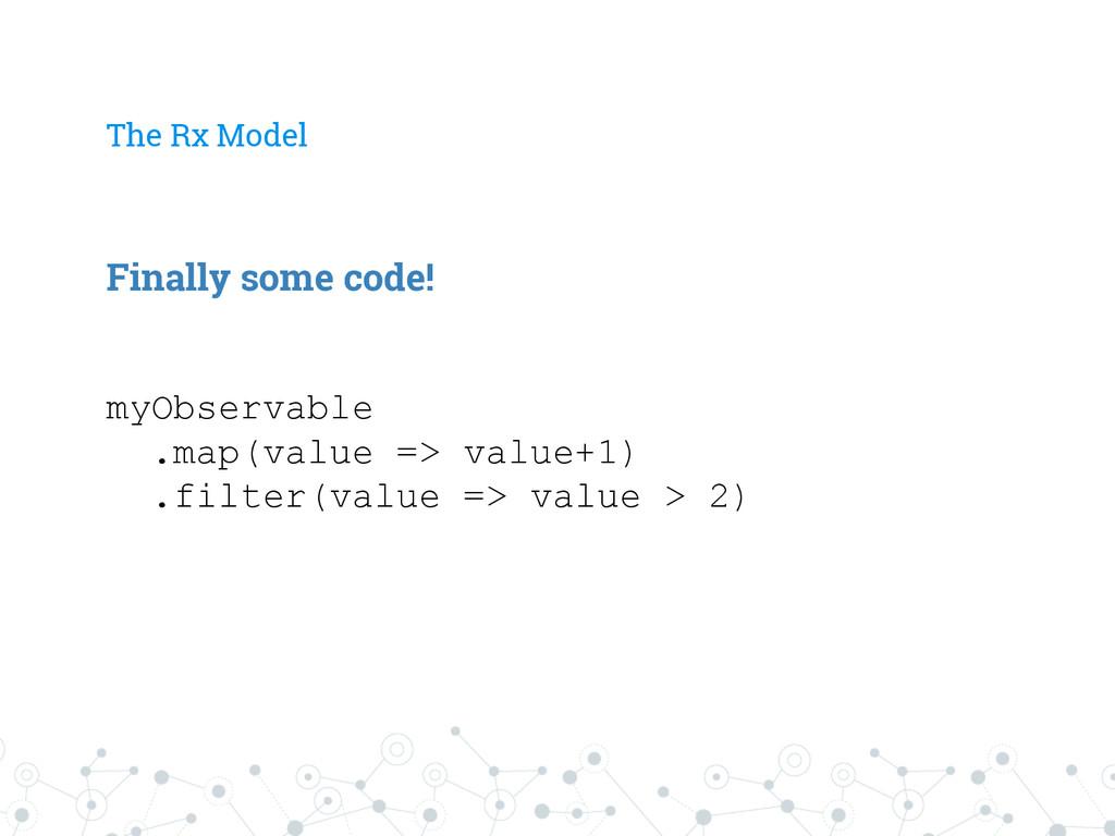 The Rx Model myObservable .map(value => value+1...