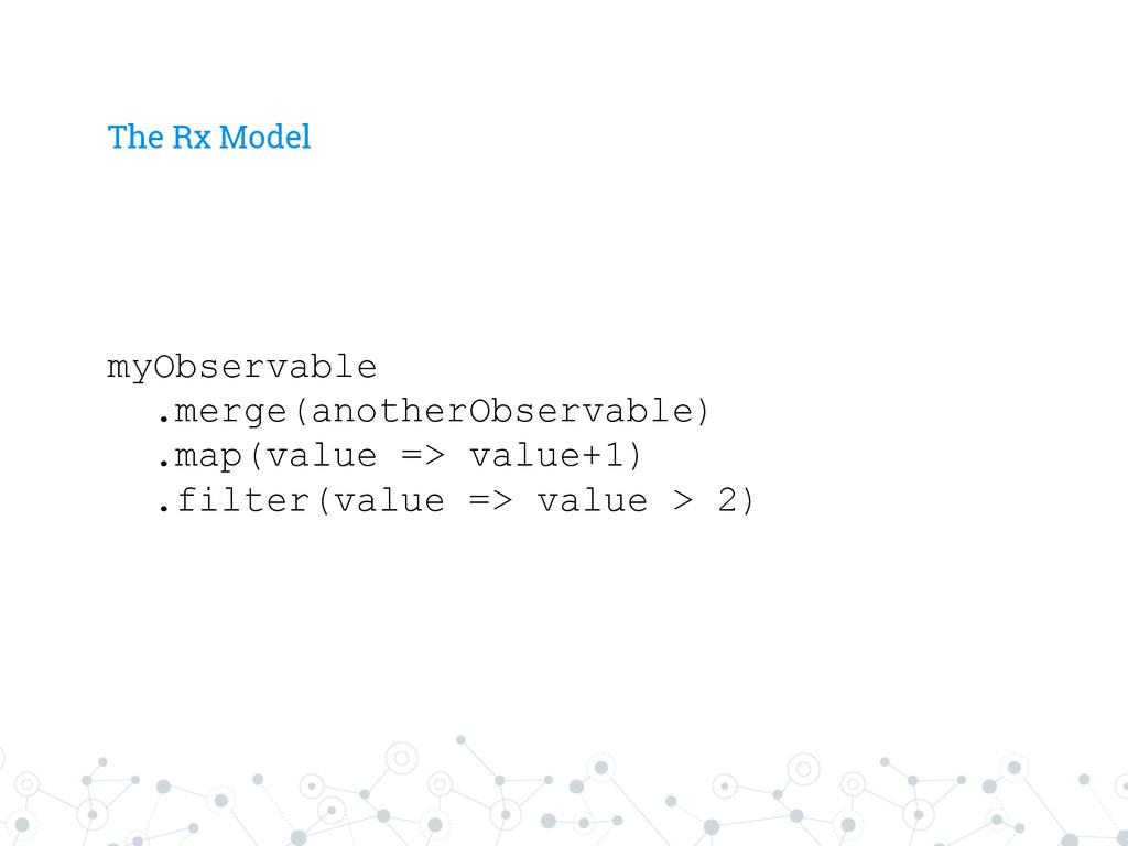 The Rx Model myObservable .merge(anotherObserva...