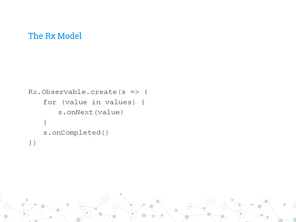 The Rx Model Rx.Observable.create(s => { for (v...