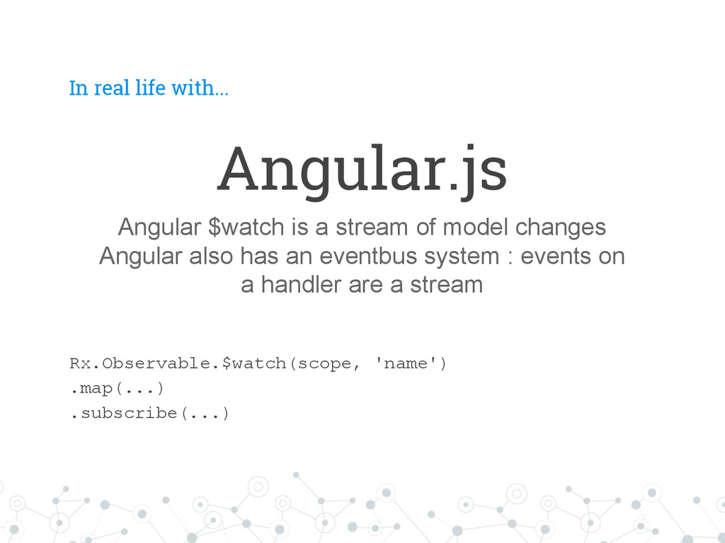 In real life with... Angular.js Angular $watch ...