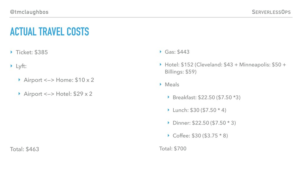 @tmclaughbos SERVERLESSOPS ACTUAL TRAVEL COSTS ...