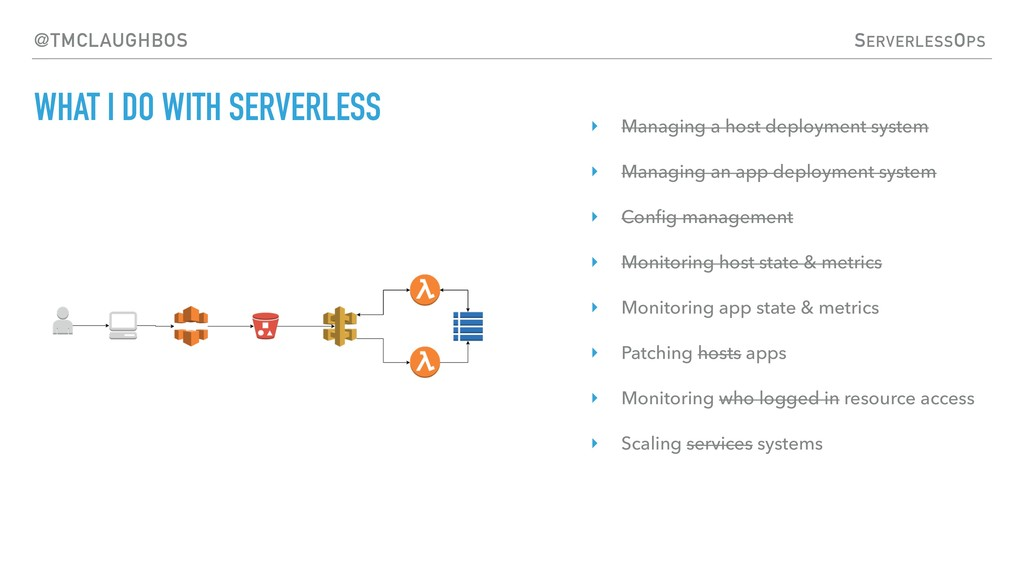 SERVERLESSOPS @TMCLAUGHBOS WHAT I DO WITH SERVE...