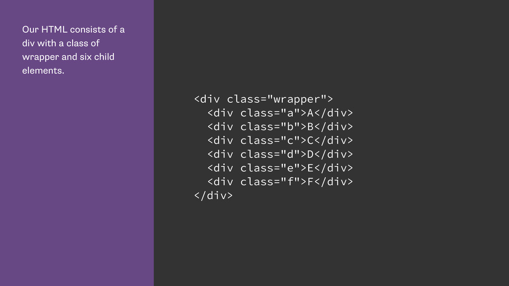 Our HTML consists of a div with a class of wrap...