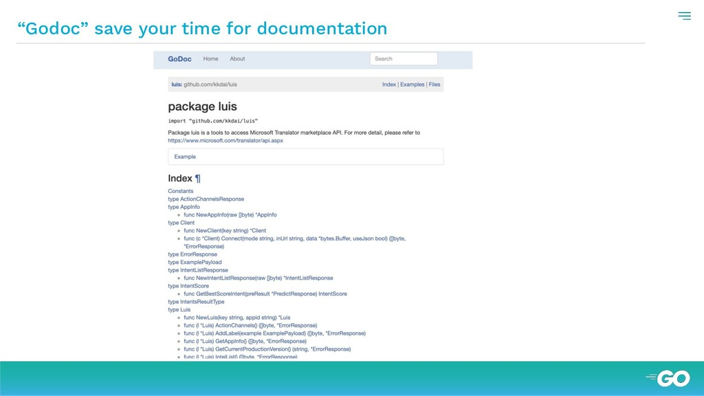 """Godoc"" save your time for documentation"