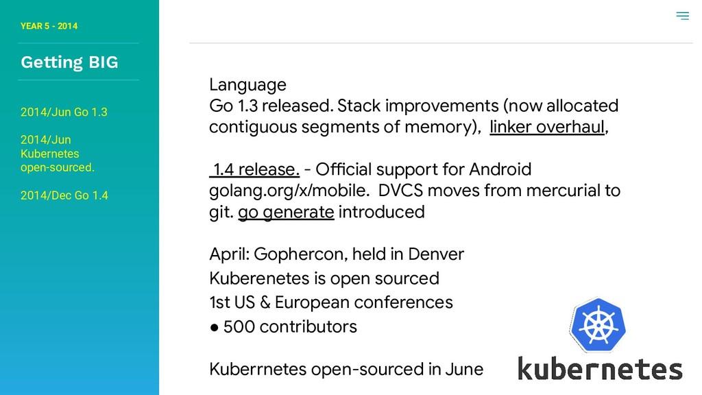 YEAR 5 - 2014 Getting BIG Language Go 1.3 relea...
