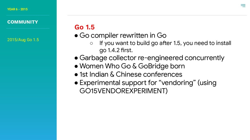 YEAR 6 - 2015 COMMUNITY Go 1.5 ● Go compiler re...