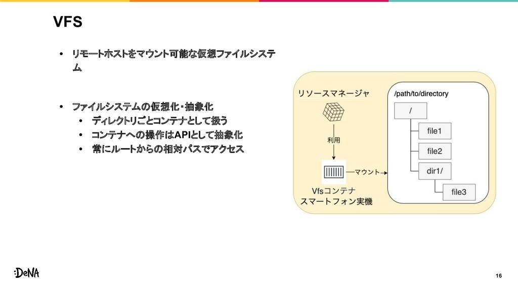 VFS • リモートホストをマウント可能な仮想ファイルシステ ム • ファイルシステムの仮想化...