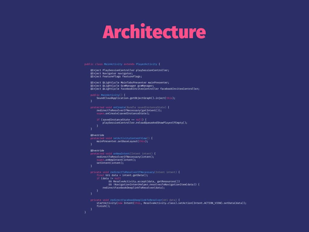 Architecture public class MainActivity extends ...