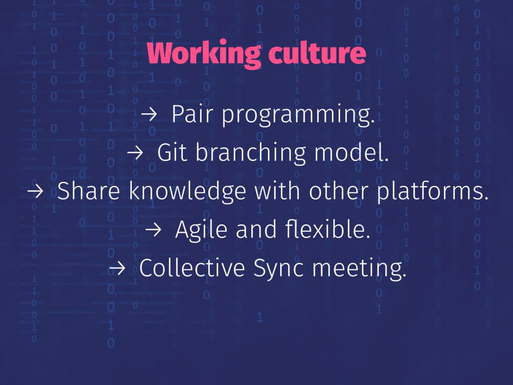 Working culture → Pair programming. → Git branc...