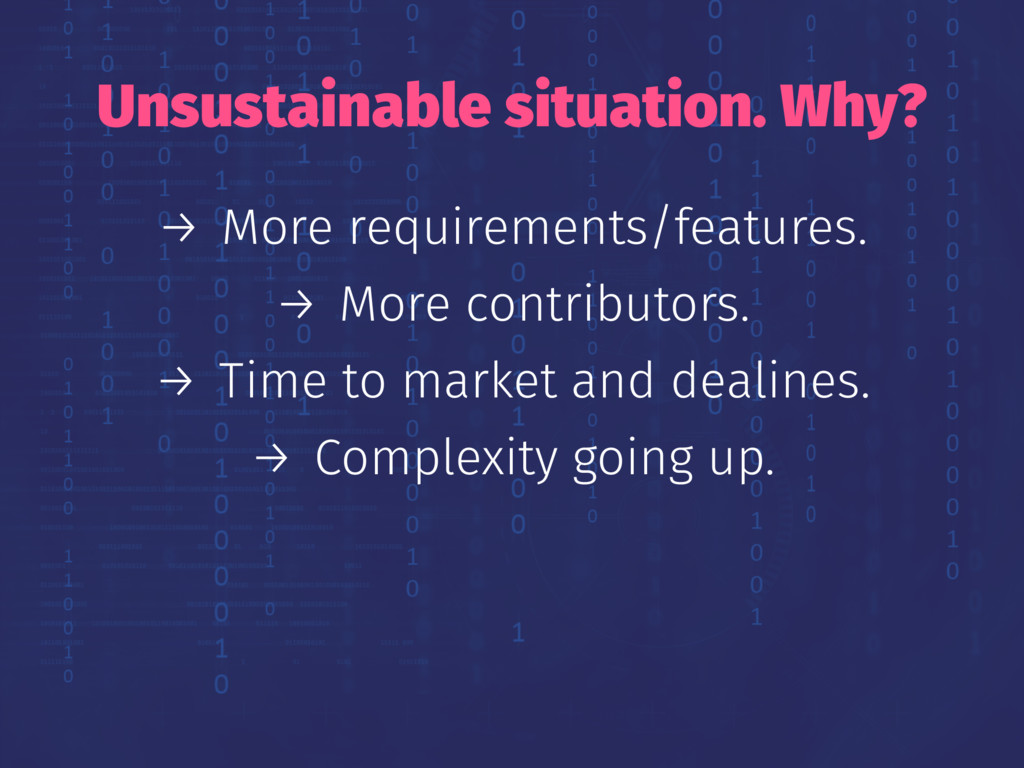 Unsustainable situation. Why? → More requiremen...