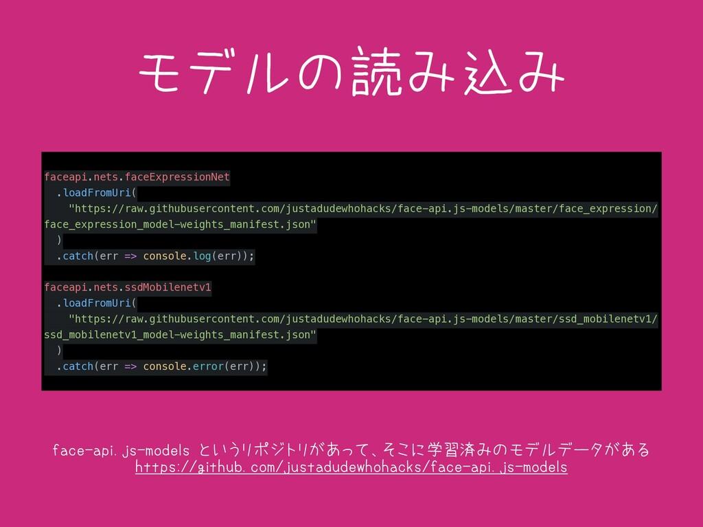 モデルの読み込み faceapi.nets.faceExpressionNet .loadFr...
