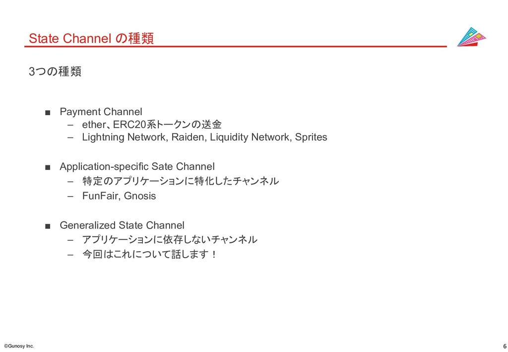 6 ©Gunosy Inc. State Channel の種類 ■ Payment Chan...