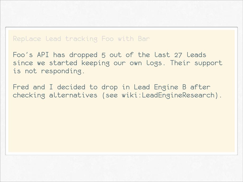 Replace lead tracking Foo with Bar Foo's API ha...