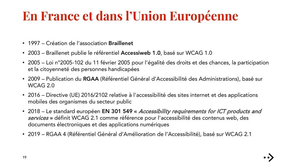 En France et dans l'Union Européenne • 1997 – C...