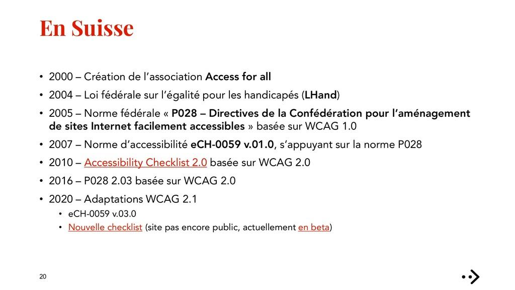 En Suisse • 2000 – Création de l'association Ac...
