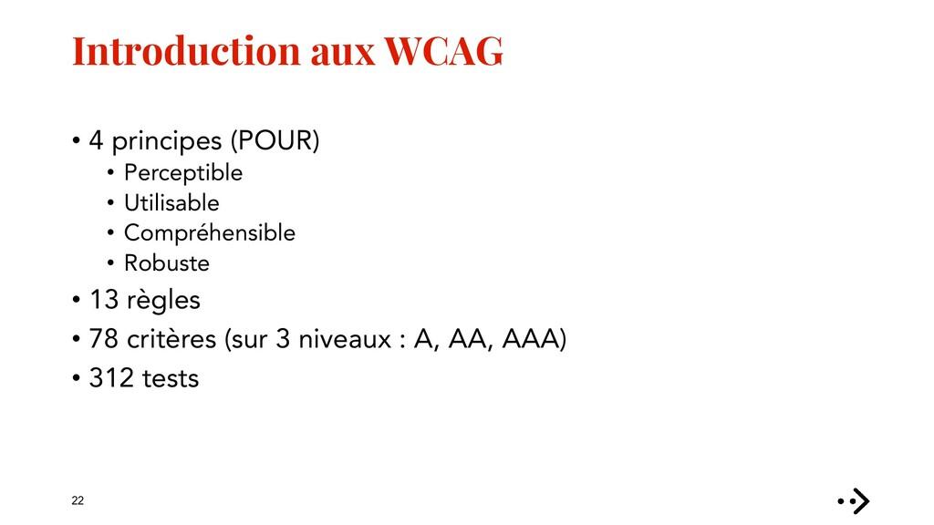 Introduction aux WCAG • 4 principes (POUR) • Pe...