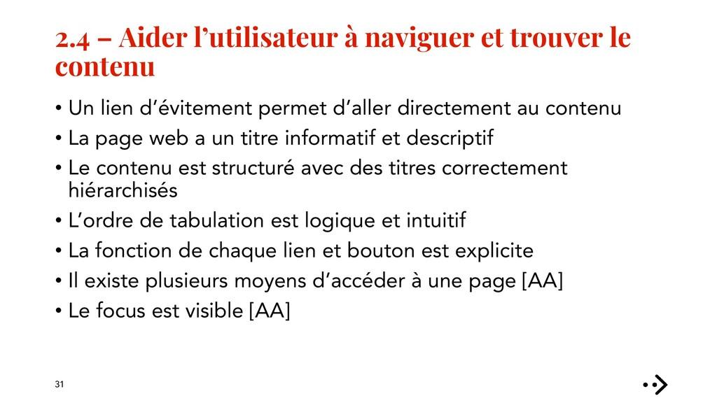 2.4 – Aider l'utilisateur à naviguer et trouver...