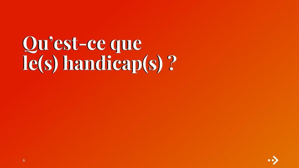Qu'est-ce que le(s) handicap(s) ? 6