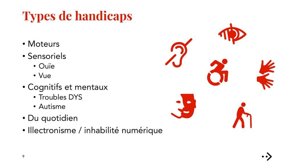Types de handicaps • Moteurs • Sensoriels • Ouï...