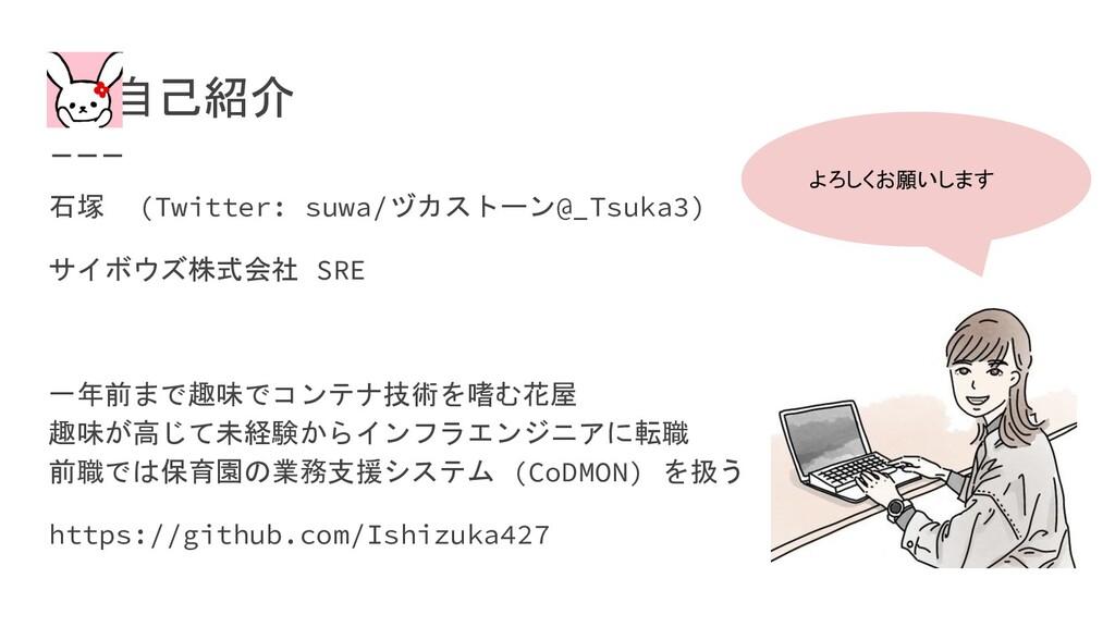 自己紹介 石塚 (Twitter: suwa/ヅカストーン@_Tsuka3) サイボウズ株...