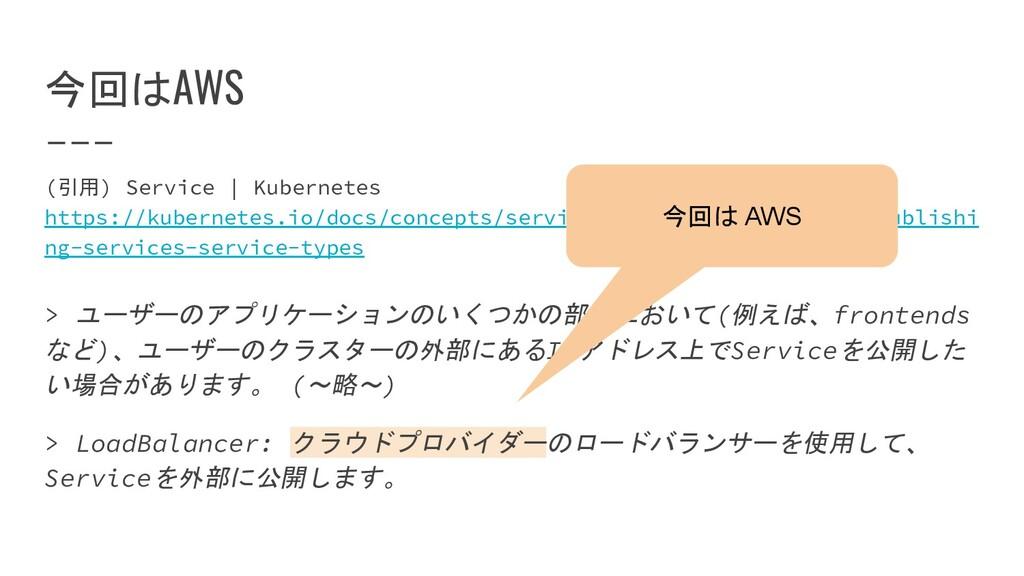 今回はAWS (引用) Service | Kubernetes https://kubern...