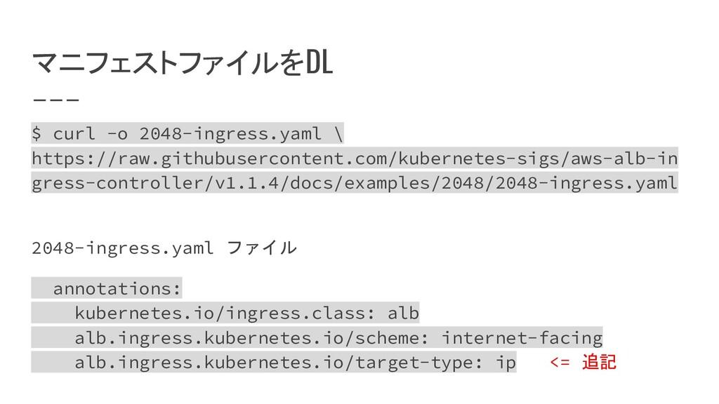 マニフェストファイルをDL $ curl -o 2048-ingress.yaml \ htt...
