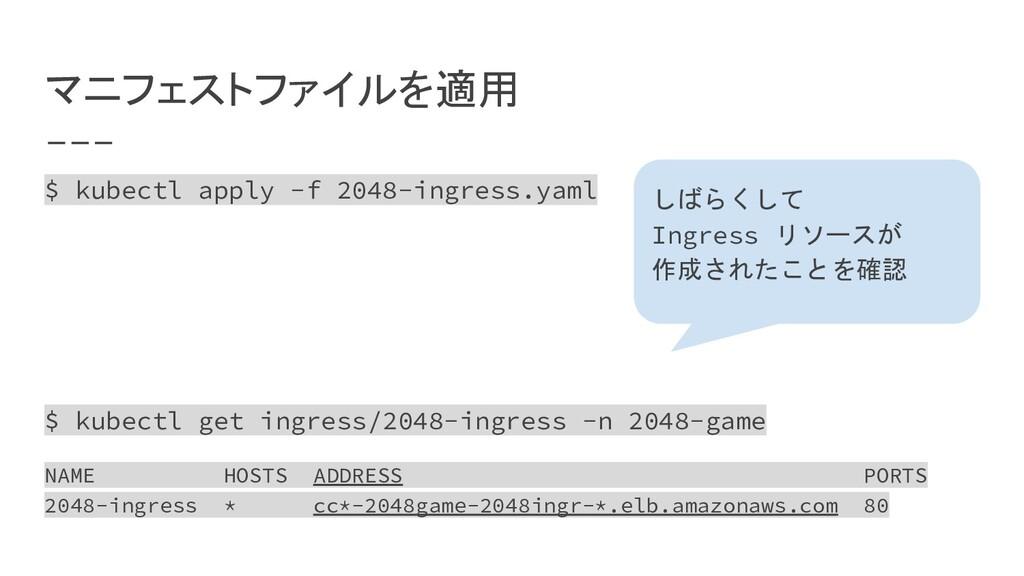 マニフェストファイルを適用 $ kubectl apply -f 2048-ingress.y...