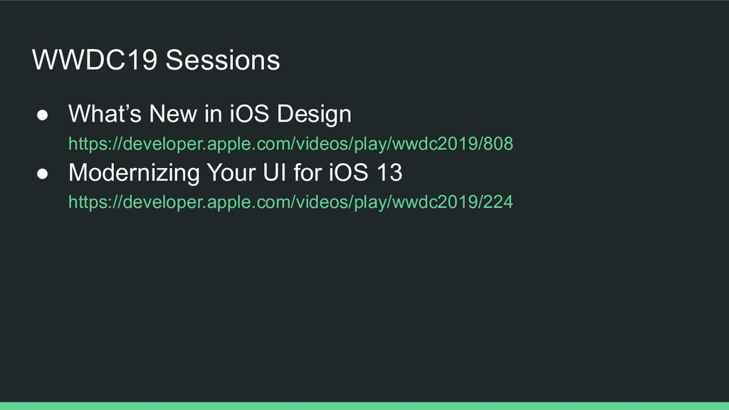 WWDC19 Sessions ● What's New in iOS Design http...