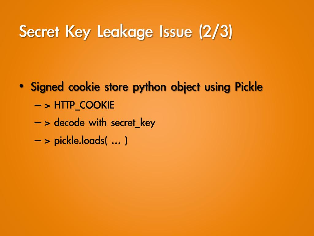 Secret Key Leakage Issue (2/3) • Signed ...